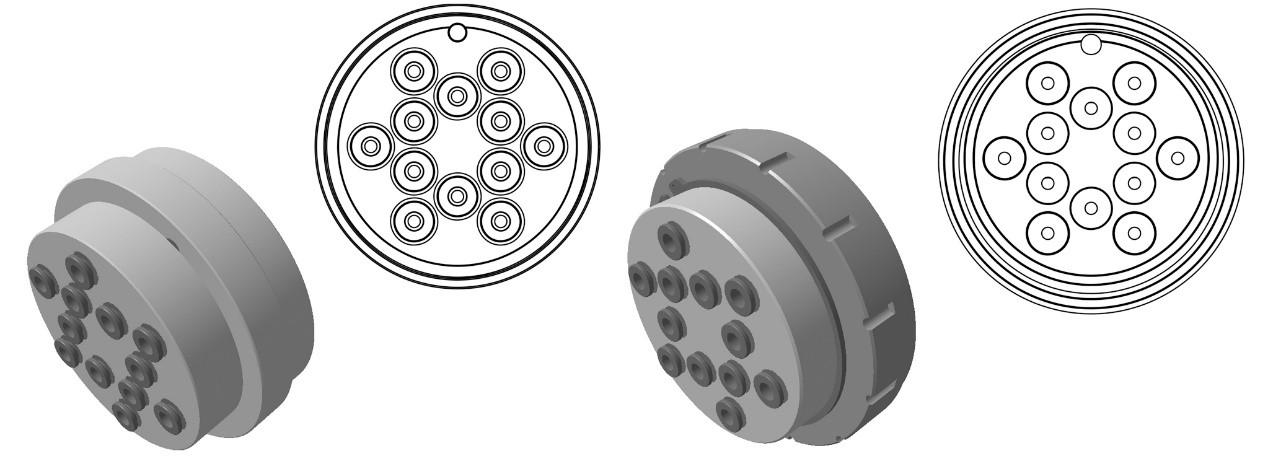 圆形布局,多路气动接头,多孔接头,12孔接头